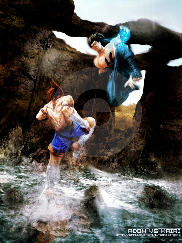 Adon VS Kairi, Street Fighter Fan Art, artwork done with Gimp/MyPaint/Blender by Emanuele Pepi
