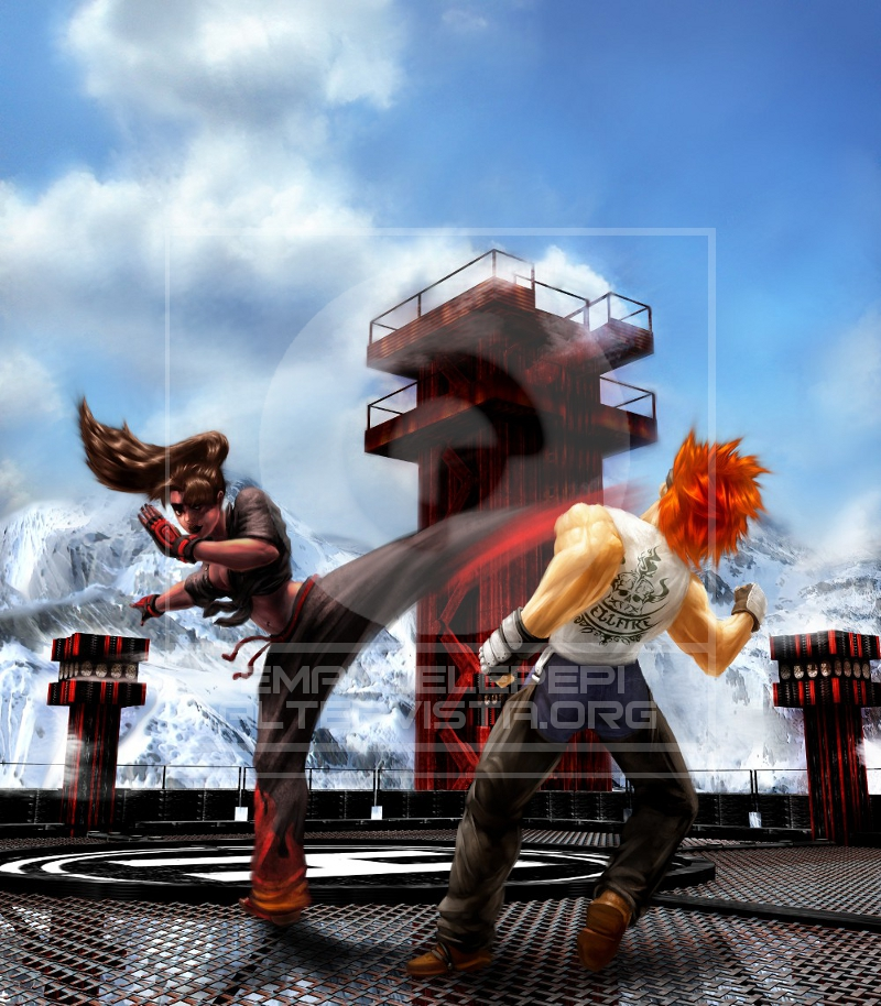 Christie Monteiro VS Hwoarang, characters of the Tekken series, artwork done with Gimp/MyPaint/Blender by Emanuele Pepi