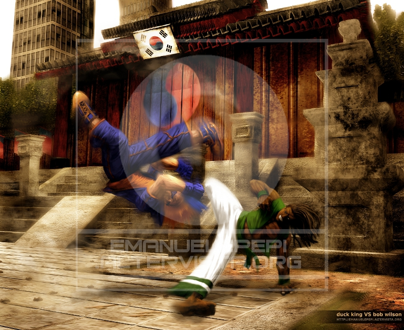 Duck King VS Bob Wilson, Real Bout Fatal Fury Fan Art, artwork done with Gimp/MyPaint/Blender by Emanuele Pepi