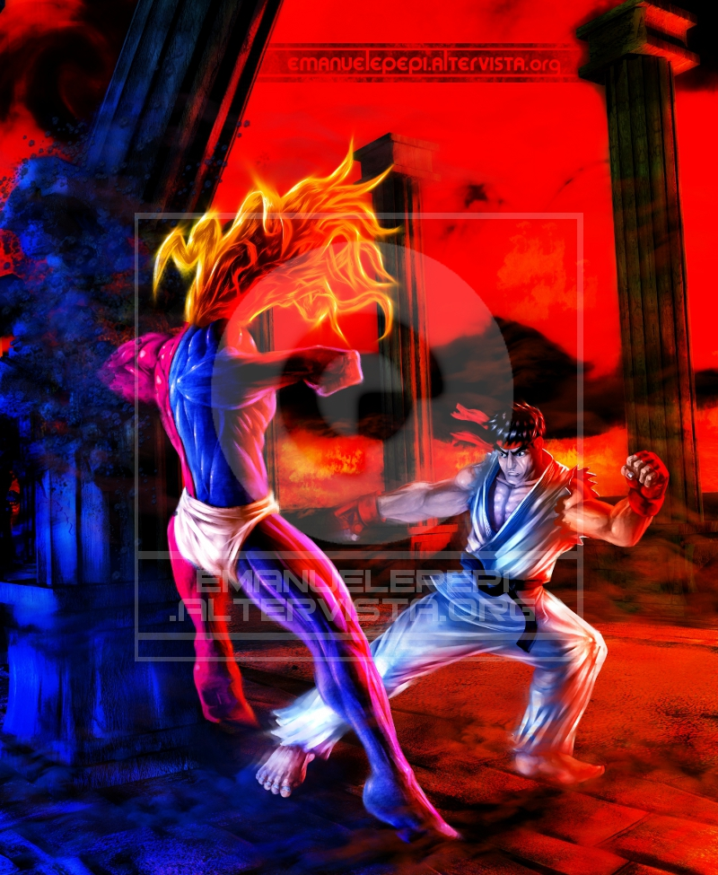 Gill VS Ryu, characters of the Street Fighter videogame series, original artwork done with Gimp/MyPaint/Blender by Emanuele Pepi