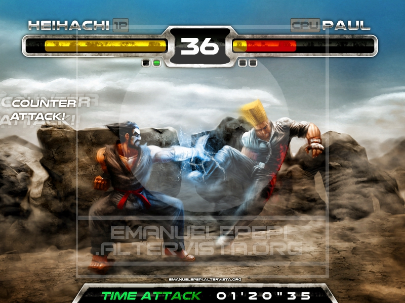 Heihachi Mishima VS Paul Phoenix, characters of the Tekken series, artwork done with Gimp/MyPaint/Blender by Emanuele Pepi