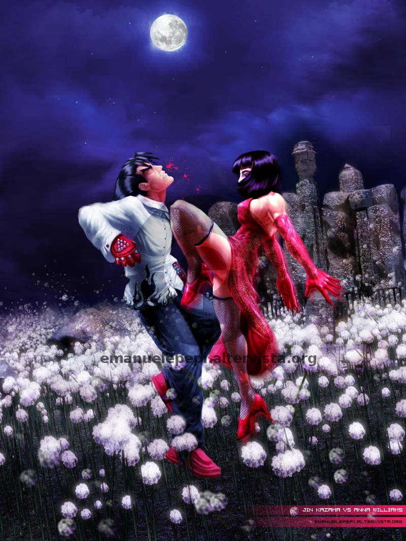 Jin Kazama VS Anna Williams, characters of the Tekken series, artwork done with Gimp/MyPaint/Blender by Emanuele Pepi