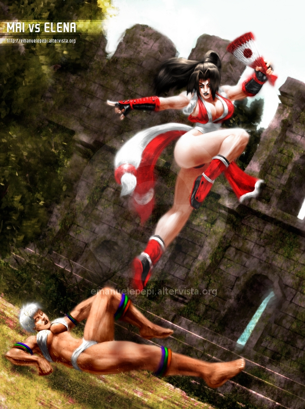 Mai VS Elena, SF/KOF Fan Art, artwork done with Gimp/MyPaint/Blender by Emanuele Pepi