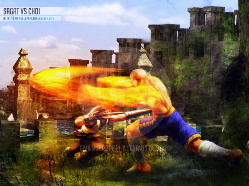 Sagat VS Choi, SF/KOF Fan Art, artwork done with Gimp/MyPaint/Blender by Emanuele Pepi