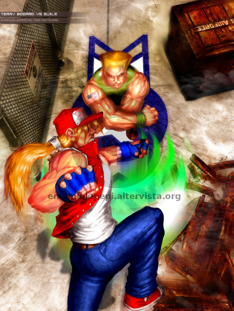 Terry Bogard VS Guile, characters of the Fatal Fury and Street Fighter series, artwork done with Gimp/MyPaint/Blender by Emanuele Pepi