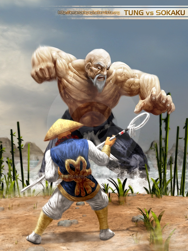 Tung Fu Rue VS Sokaku Mochizuki, Real Bout Fatal Fury Fan Art, artwork done with Gimp/MyPaint/Blender by Emanuele Pepi
